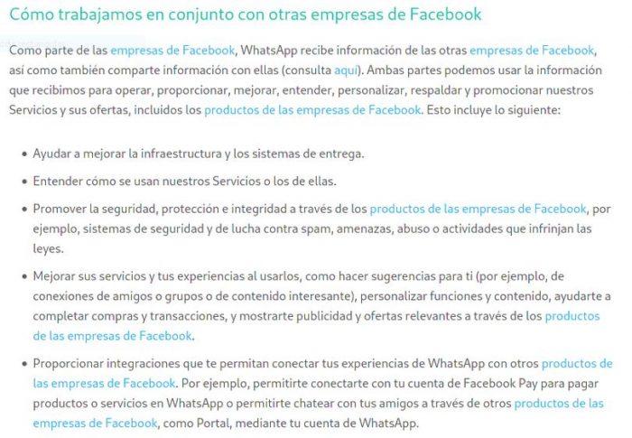 Captura de pantalla  de la nueva política de privacidad de WhatsApp. Disponible en https://www.whatsapp.com/legal/updates/privacy-policy/?lang=es
