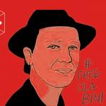 Banner con la ilustración de Ola Bini ubicada en todo el centro. Sobre la derecha el hashtag:FREE OLA BINI y sobre la margen inferior izquierda de la pieza un ojo de color blanco dentro de un cubo.